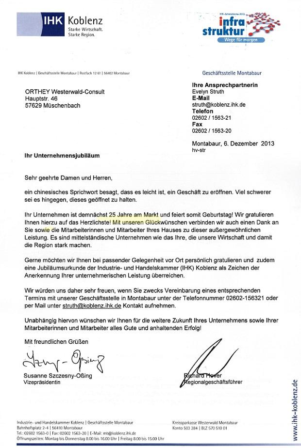 IHK-Koblenz gratuliert zu 25 Jahren